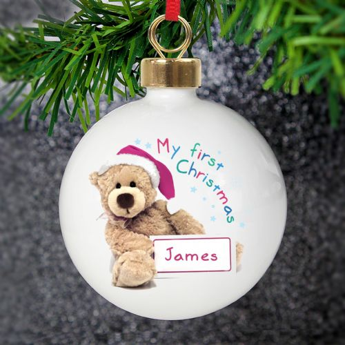 Personalised My 1st Xmas Teddy Bear Bone China Bauble